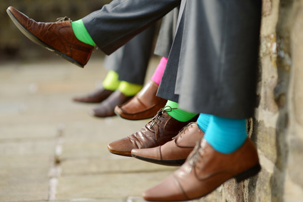 Colorful socks of groomsmen